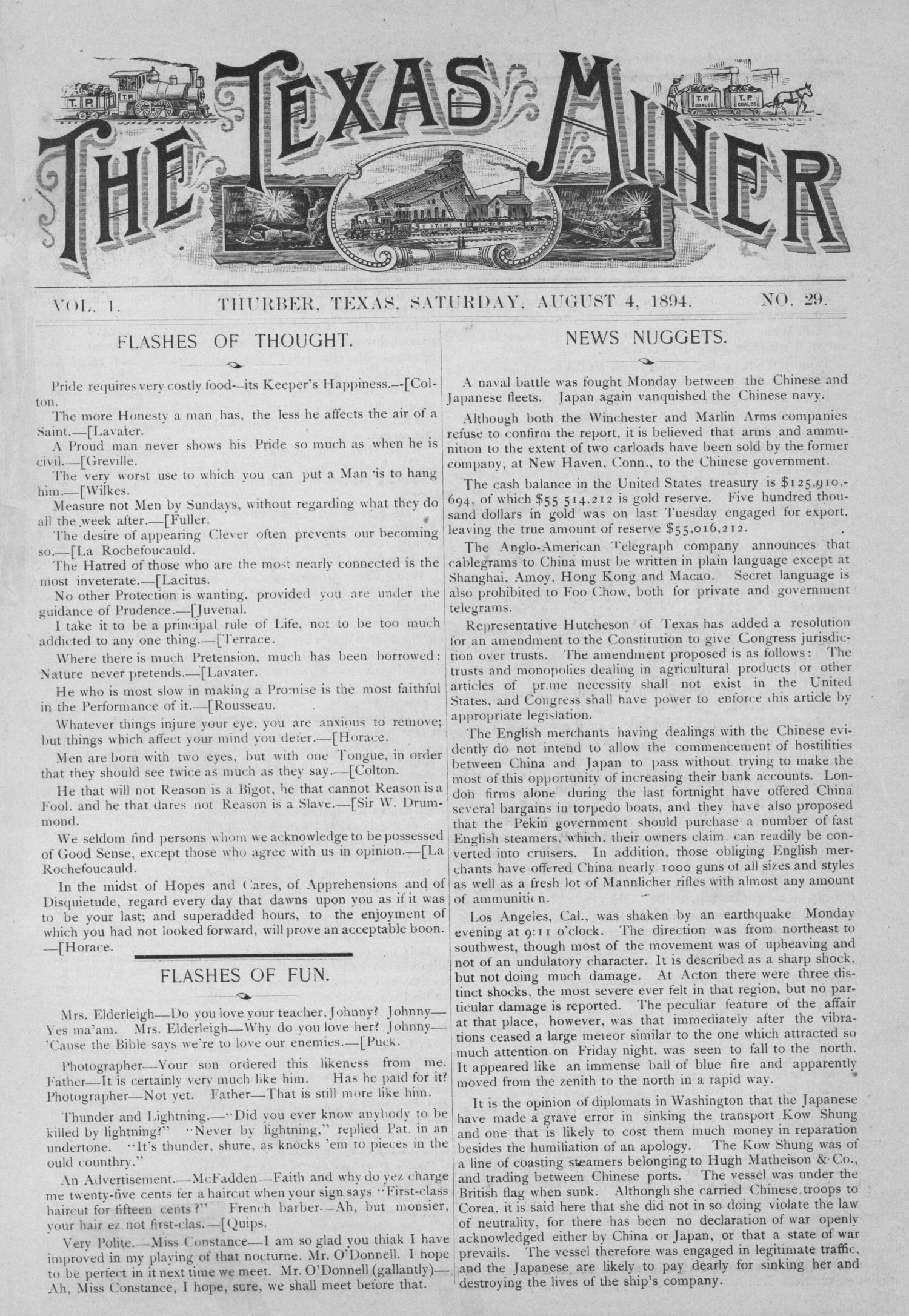 The Texas Miner, Volume 1, Number 29, August 4, 1894                                                                                                      1