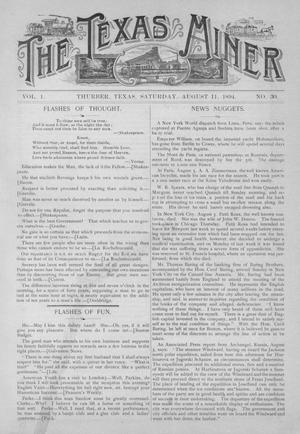 Primary view of object titled 'The Texas Miner, Volume 1, Number 30, August 11, 1894'.