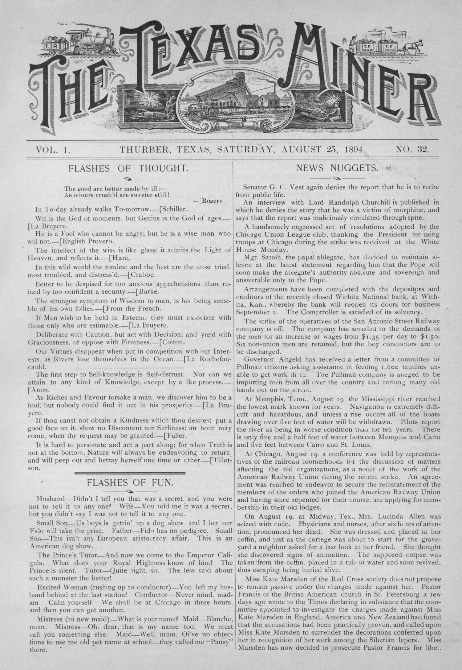 The Texas Miner, Volume 1, Number 32, August 25, 1894                                                                                                      1