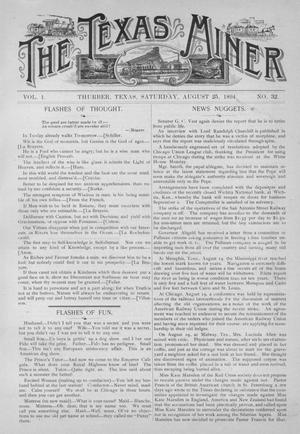 Primary view of object titled 'The Texas Miner, Volume 1, Number 32, August 25, 1894'.