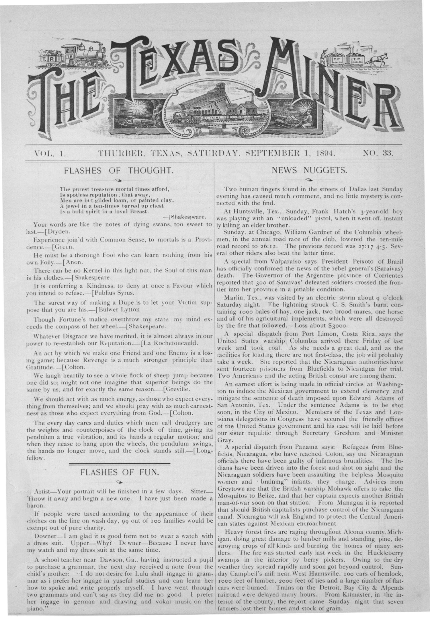The Texas Miner, Volume 1, Number 33, September 1, 1894                                                                                                      1