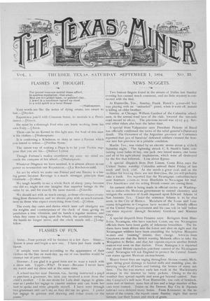 Primary view of object titled 'The Texas Miner, Volume 1, Number 33, September 1, 1894'.