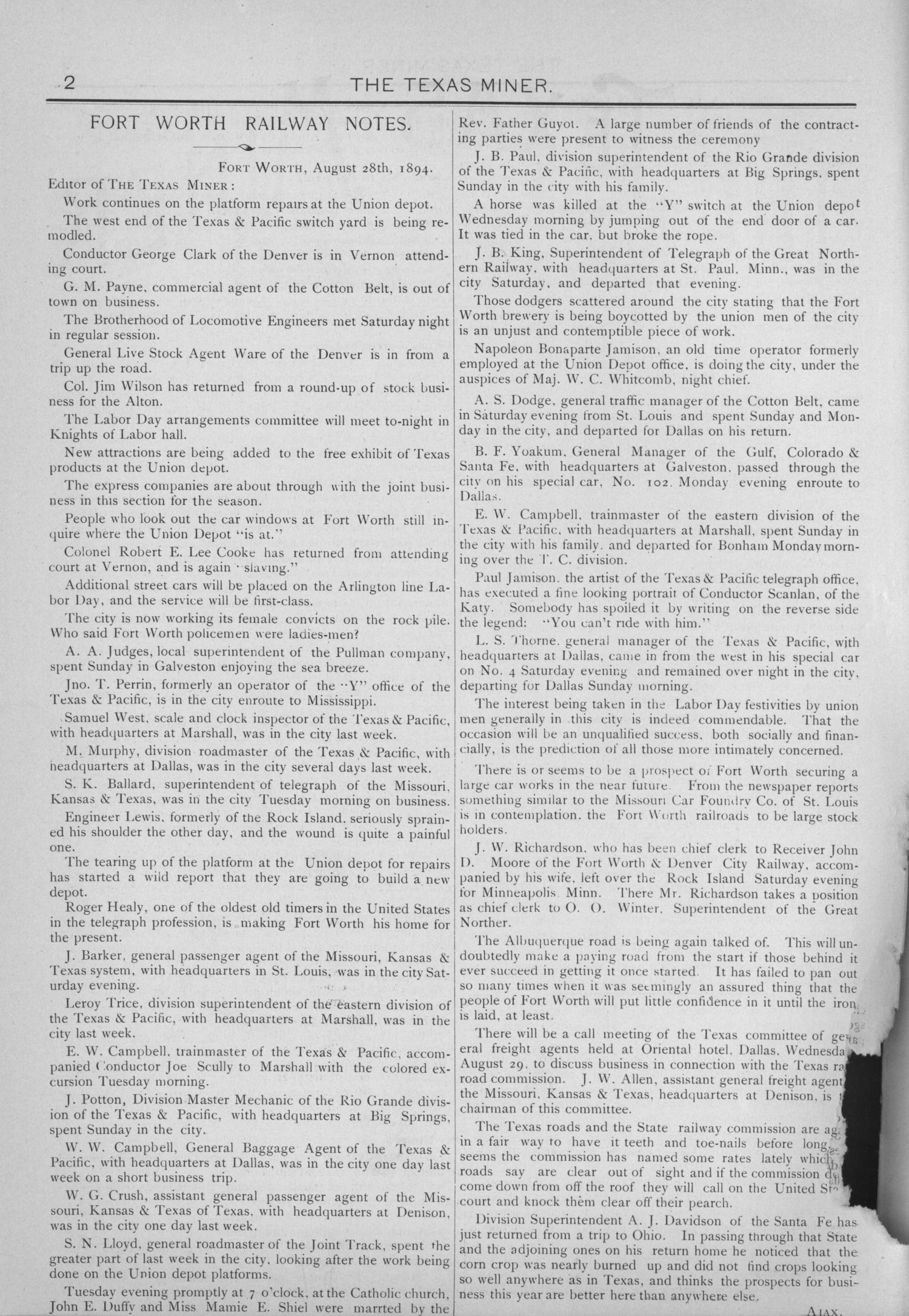 The Texas Miner, Volume 1, Number 33, September 1, 1894                                                                                                      2