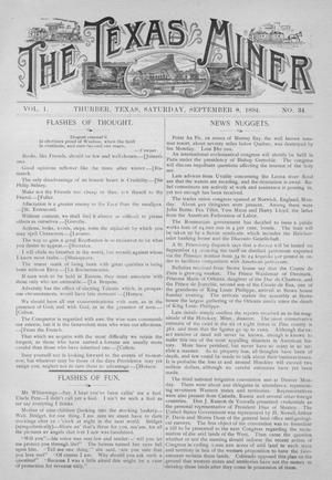 Primary view of object titled 'The Texas Miner, Volume 1, Number 34, September 8, 1894'.