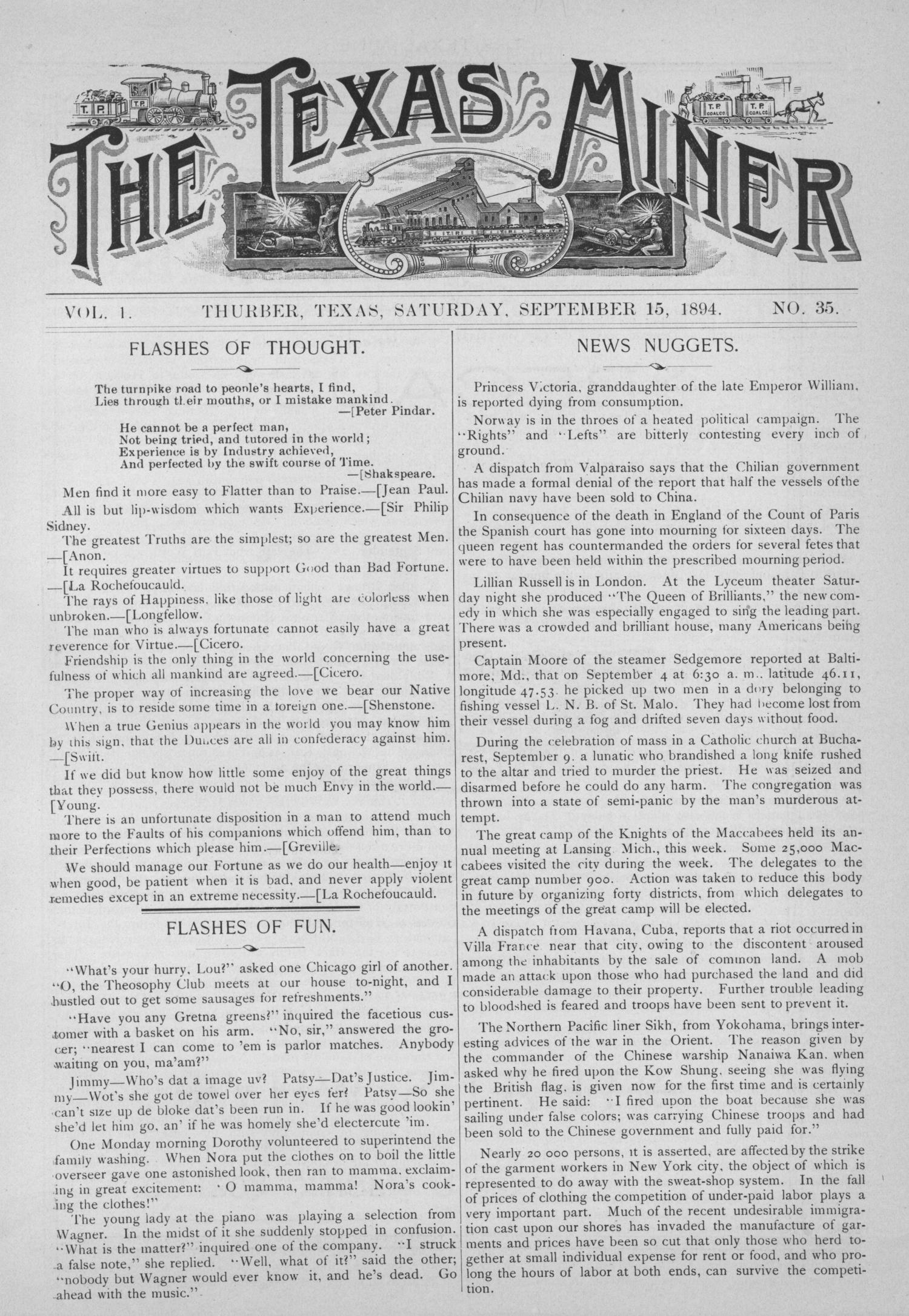 The Texas Miner, Volume 1, Number 35, September 15, 1894                                                                                                      1