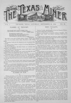 Primary view of object titled 'The Texas Miner, Volume 1, Number 35, September 15, 1894'.