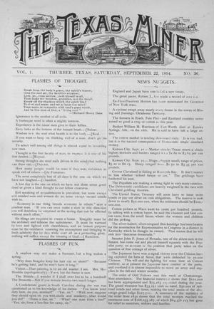 Primary view of object titled 'The Texas Miner, Volume 1, Number 36, September 22, 1894'.