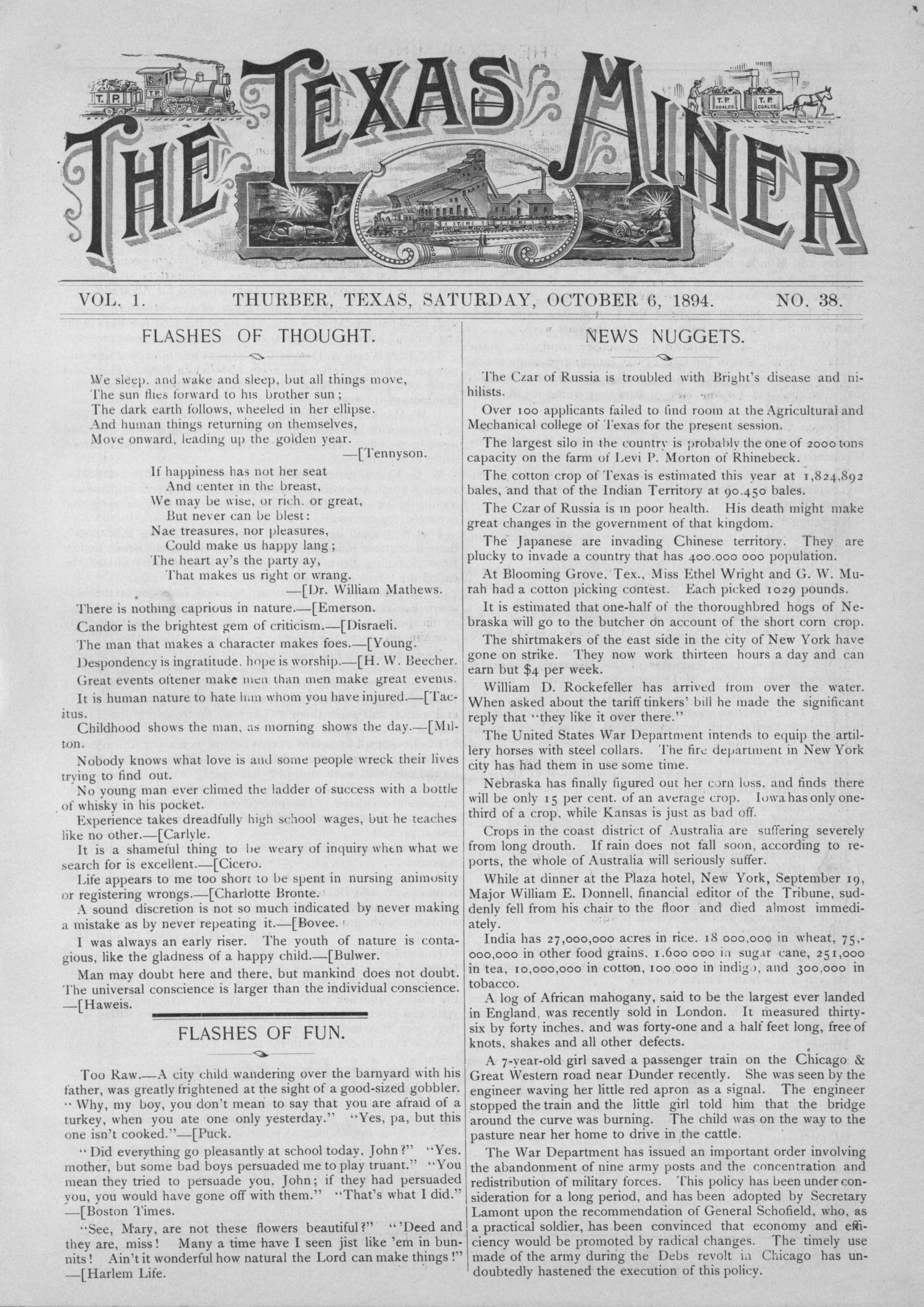 The Texas Miner, Volume 1, Number 38, October 6, 1894                                                                                                      1