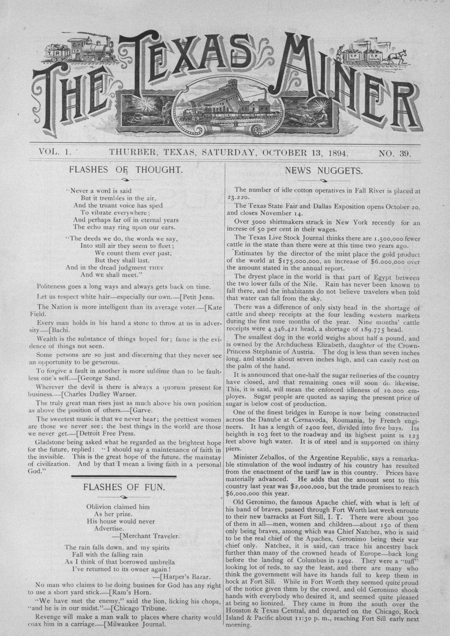 The Texas Miner, Volume 1, Number 39, October 13, 1894                                                                                                      1