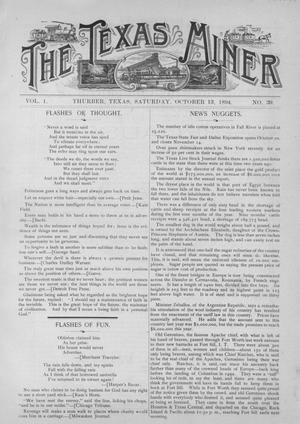 Primary view of object titled 'The Texas Miner, Volume 1, Number 39, October 13, 1894'.
