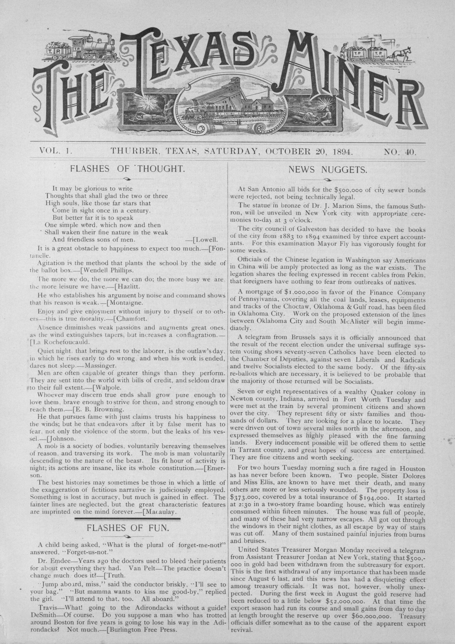 The Texas Miner, Volume 1, Number 40, October 20, 1894                                                                                                      1