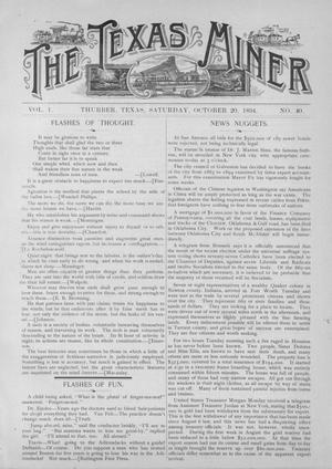 Primary view of object titled 'The Texas Miner, Volume 1, Number 40, October 20, 1894'.