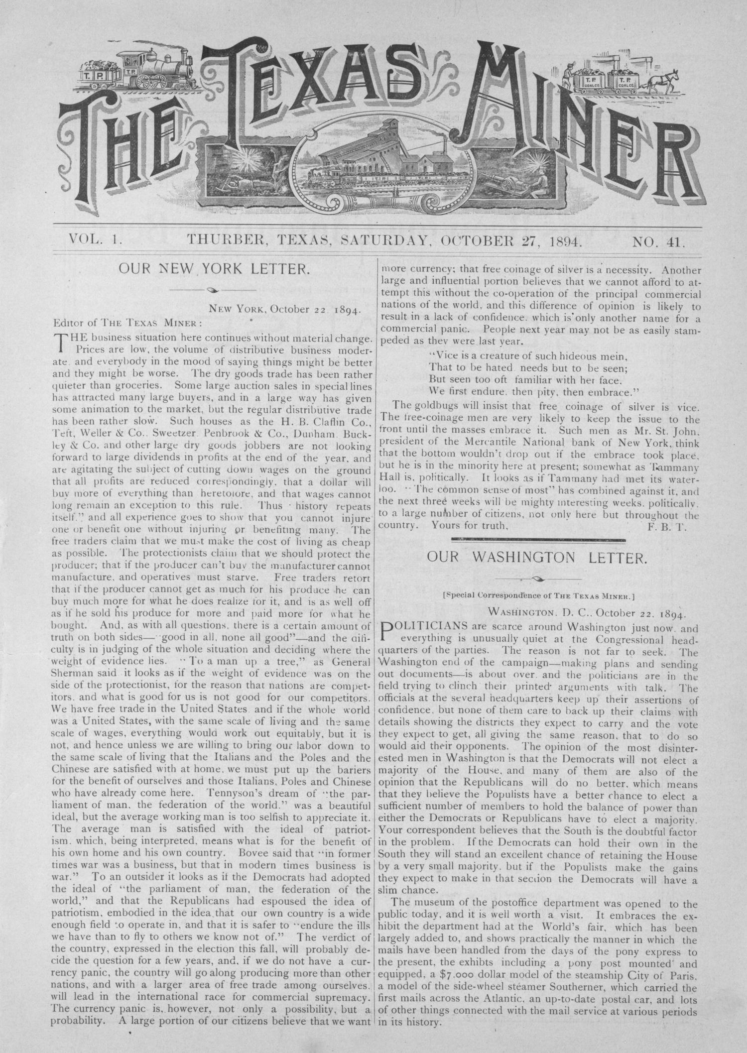 The Texas Miner, Volume 1, Number 41, October 27, 1894                                                                                                      1