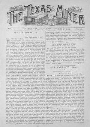Primary view of object titled 'The Texas Miner, Volume 1, Number 41, October 27, 1894'.