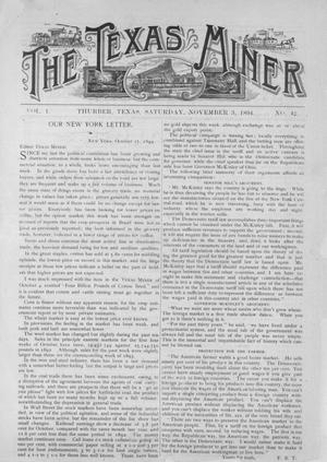 Primary view of object titled 'The Texas Miner, Volume 1, Number 42, November 3, 1894'.