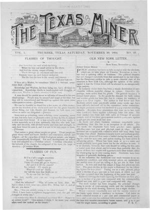 Primary view of object titled 'The Texas Miner, Volume 1, Number 43, November 10, 1894'.