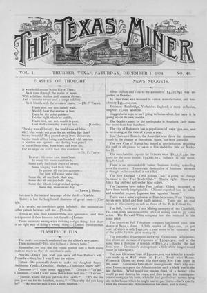 Primary view of object titled 'The Texas Miner, Volume 1, Number 46, December 1, 1894'.