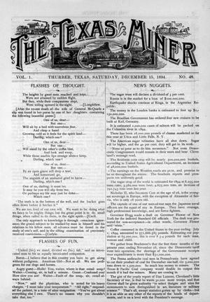 Primary view of object titled 'The Texas Miner, Volume 1, Number 48, December 15, 1894'.