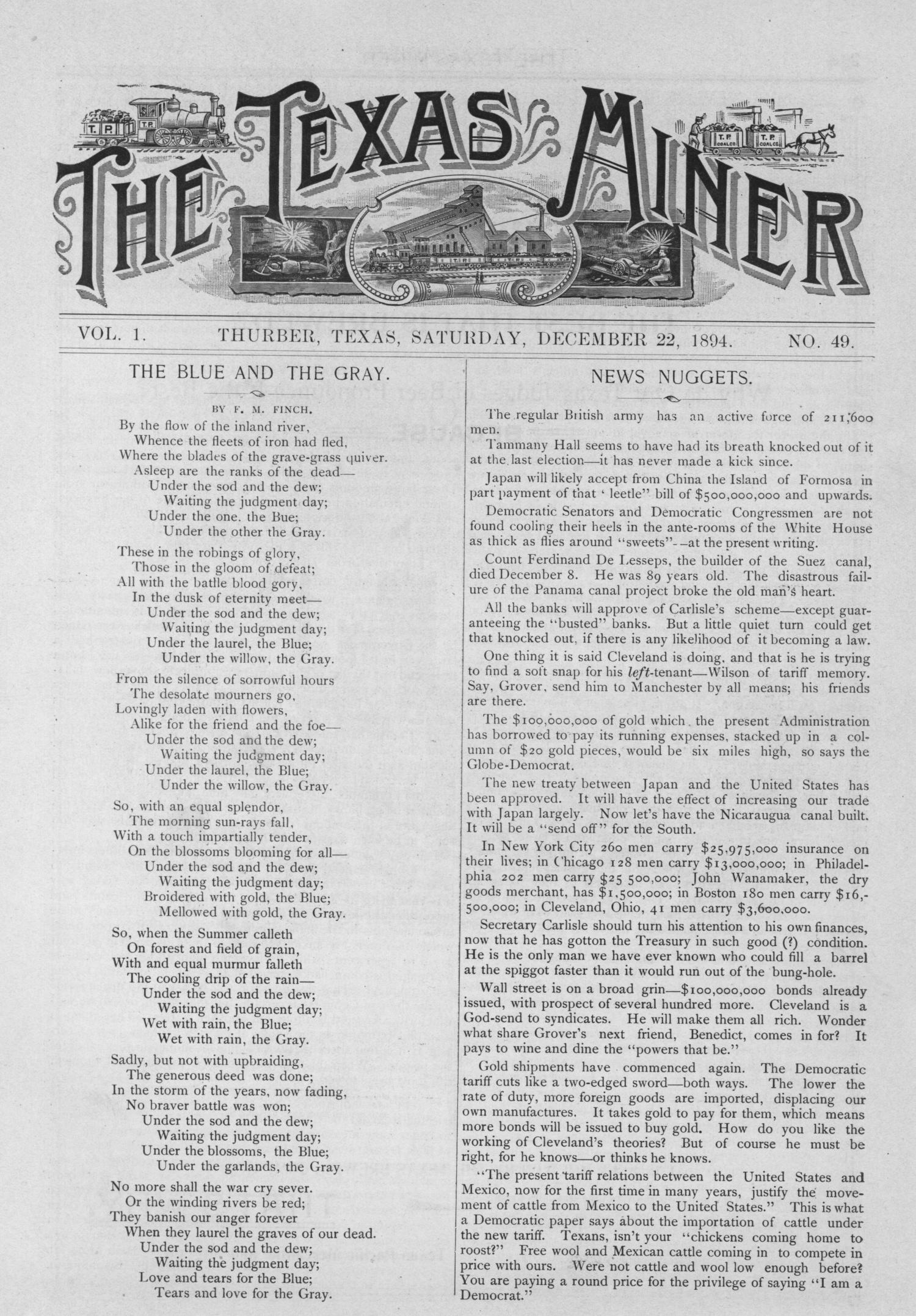 The Texas Miner, Volume 1, Number 49, December 22, 1894                                                                                                      1