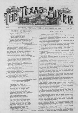 Primary view of object titled 'The Texas Miner, Volume 1, Number 50, December 29, 1894'.
