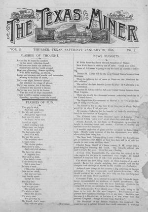 Primary view of object titled 'The Texas Miner, Volume 2, Number 2, January 26, 1895'.