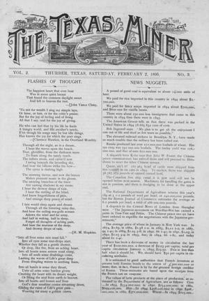 Primary view of object titled 'The Texas Miner, Volume 2, Number 3, February 2, 1895'.