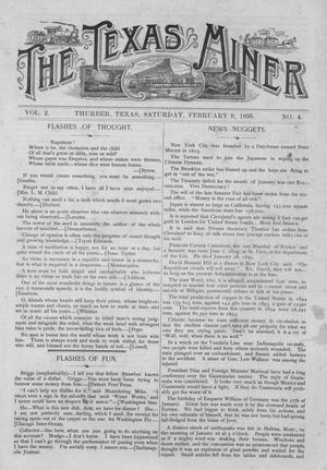 Primary view of object titled 'The Texas Miner, Volume 2, Number 4, February 9, 1895'.