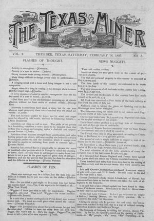 Primary view of object titled 'The Texas Miner, Volume 2, Number 5, February 16, 1895'.