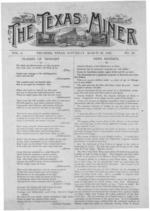 Primary view of object titled 'The Texas Miner, Volume 2, Number 10, March 23, 1895'.