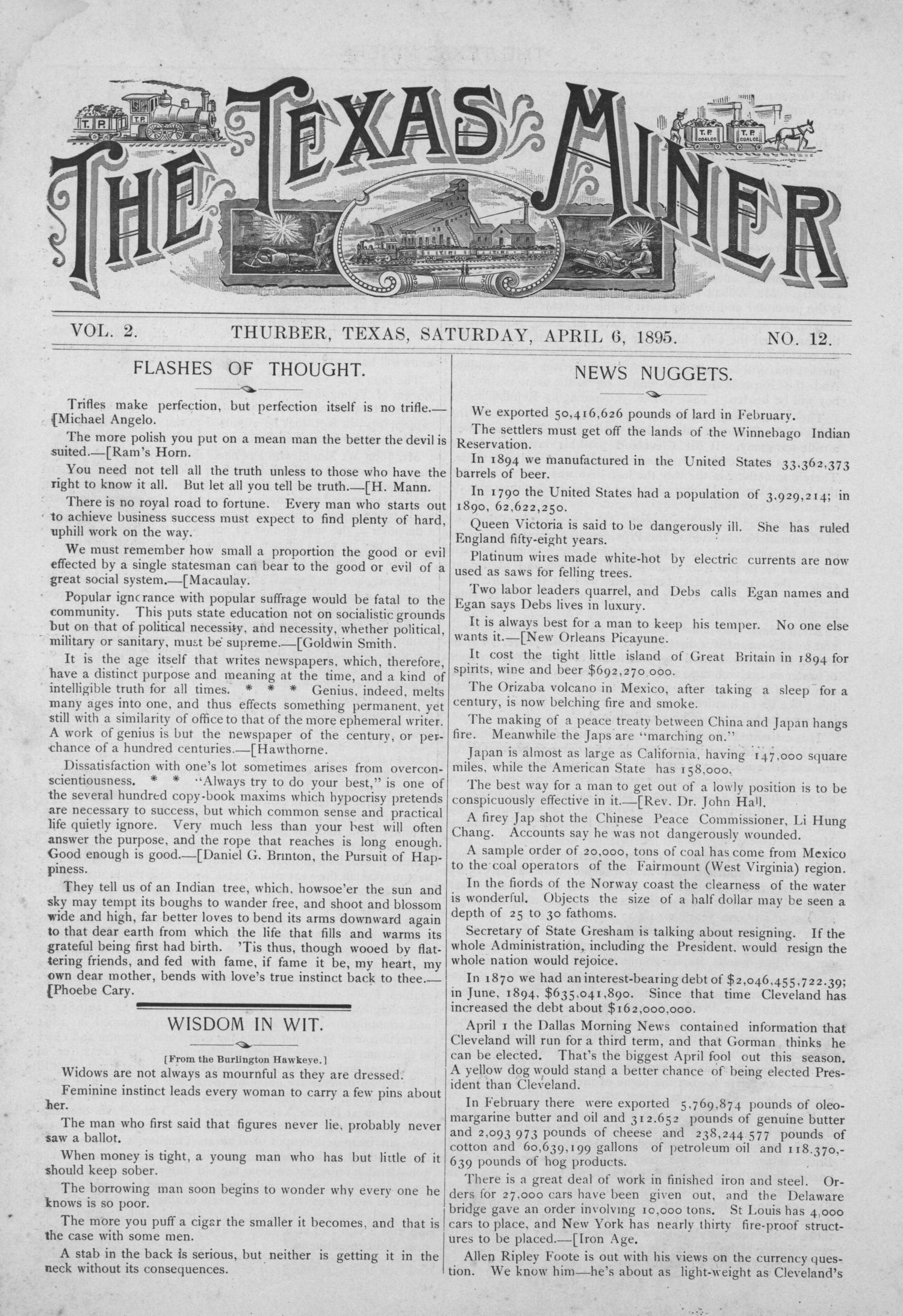 The Texas Miner, Volume 2, Number 12, April 6, 1895                                                                                                      1