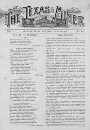 Primary view of object titled 'The Texas Miner, Volume 2, Number 24, June 29, 1895'.