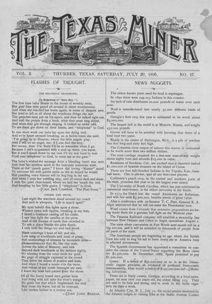 Primary view of object titled 'The Texas Miner, Volume 2, Number 27, July 20, 1895'.