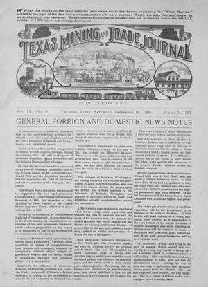 Primary view of object titled 'Texas Mining and Trade Journal, Volume 4, Number 9, Saturday, September 16, 1899'.