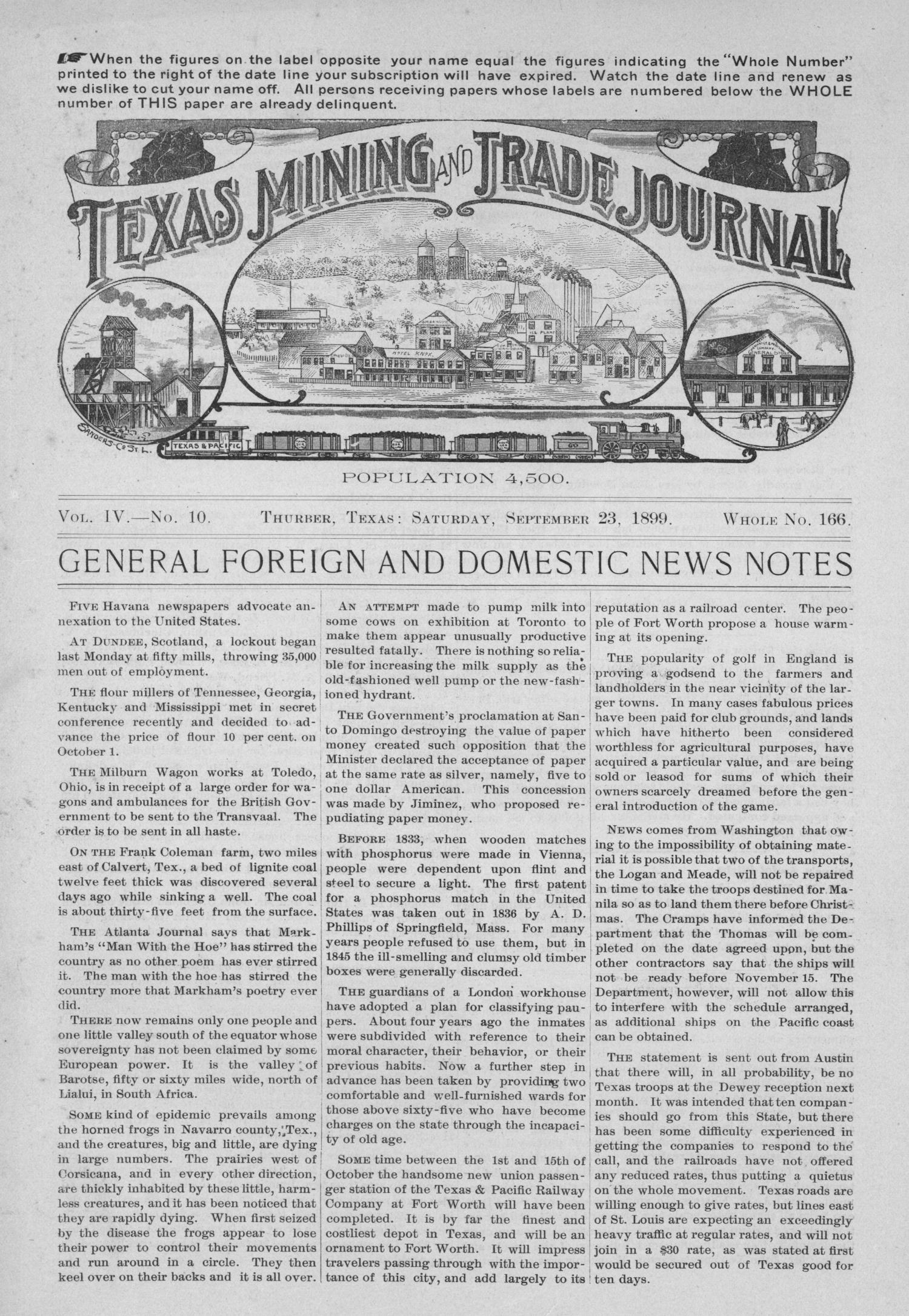 Texas Mining and Trade Journal, Volume 4, Number 10, Saturday, September 23, 1899                                                                                                      1