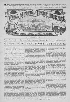 Primary view of object titled 'Texas Mining and Trade Journal, Volume 4, Number 10, Saturday, September 23, 1899'.