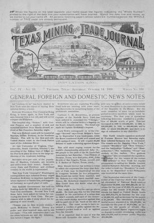 Primary view of object titled 'Texas Mining and Trade Journal, Volume 4, Number 13, Saturday, October 14, 1899'.