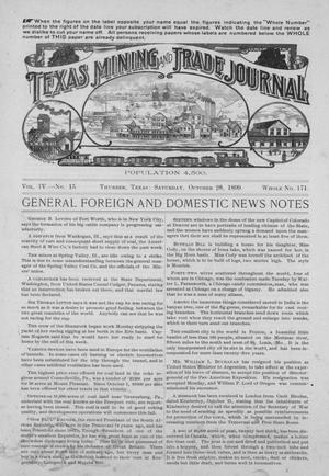 Primary view of Texas Mining and Trade Journal, Volume 4, Number 15, Saturday, October 28, 1899