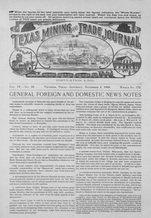 Primary view of object titled 'Texas Mining and Trade Journal, Volume 4, Number 16, Saturday, November 4, 1899'.