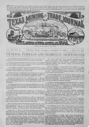 Primary view of object titled 'Texas Mining and Trade Journal, Volume 4, Number 17, Saturday, November 11, 1899'.