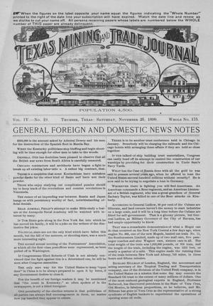 Primary view of Texas Mining and Trade Journal, Volume 4, Number 19, Saturday, November 25, 1899