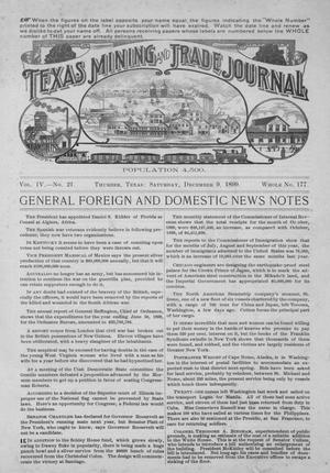 Primary view of object titled 'Texas Mining and Trade Journal, Volume 4, Number 21, Saturday, December 9, 1899'.