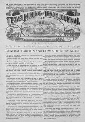 Primary view of object titled 'Texas Mining and Trade Journal, Volume 4, Number 22, Saturday, December 16, 1899'.