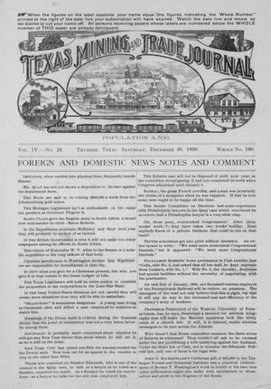 Primary view of object titled 'Texas Mining and Trade Journal, Volume 4, Number 24, Saturday, December 30, 1899'.