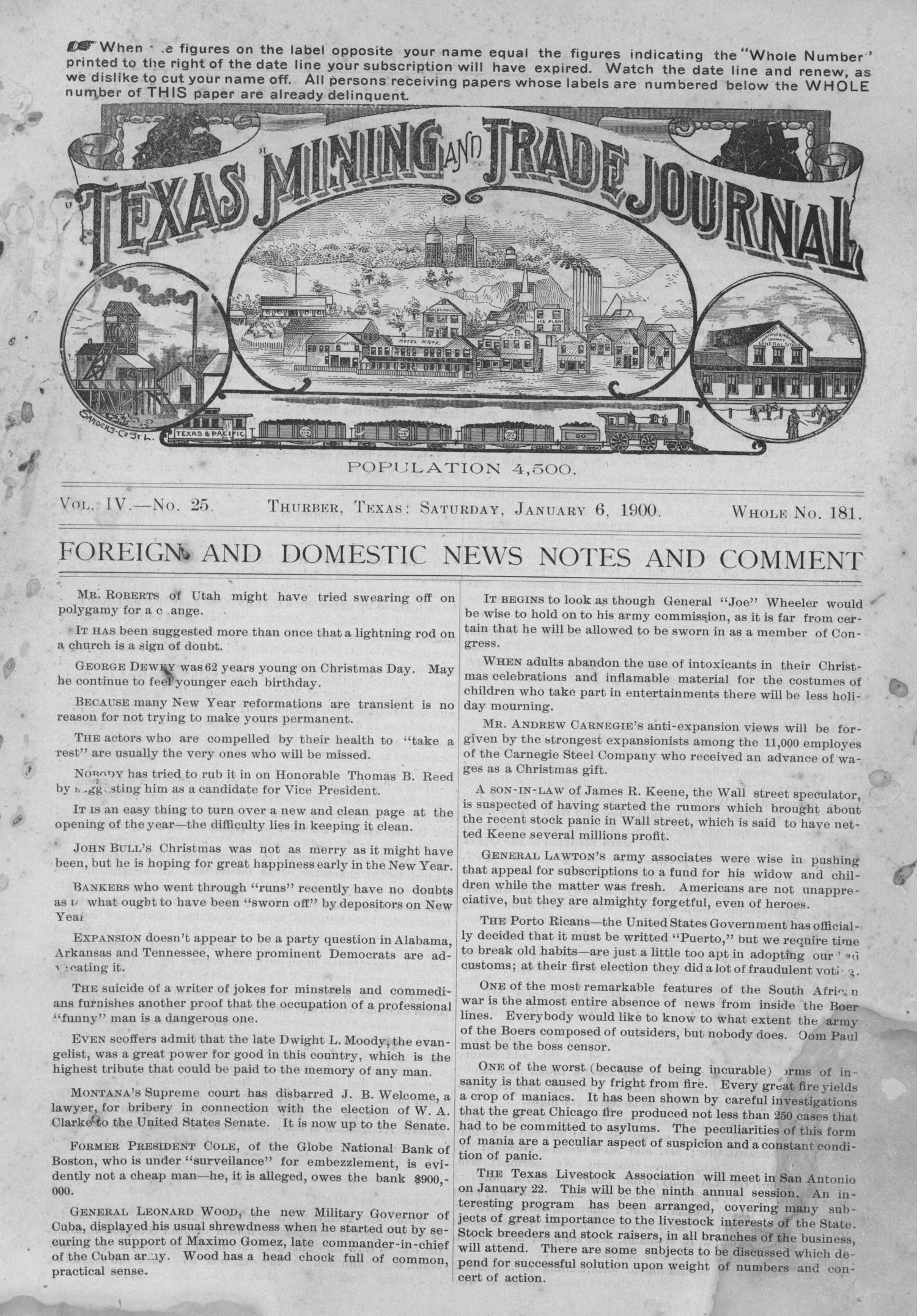 Texas Mining and Trade Journal, Volume 4, Number 25, Saturday, January 6, 1900                                                                                                      1