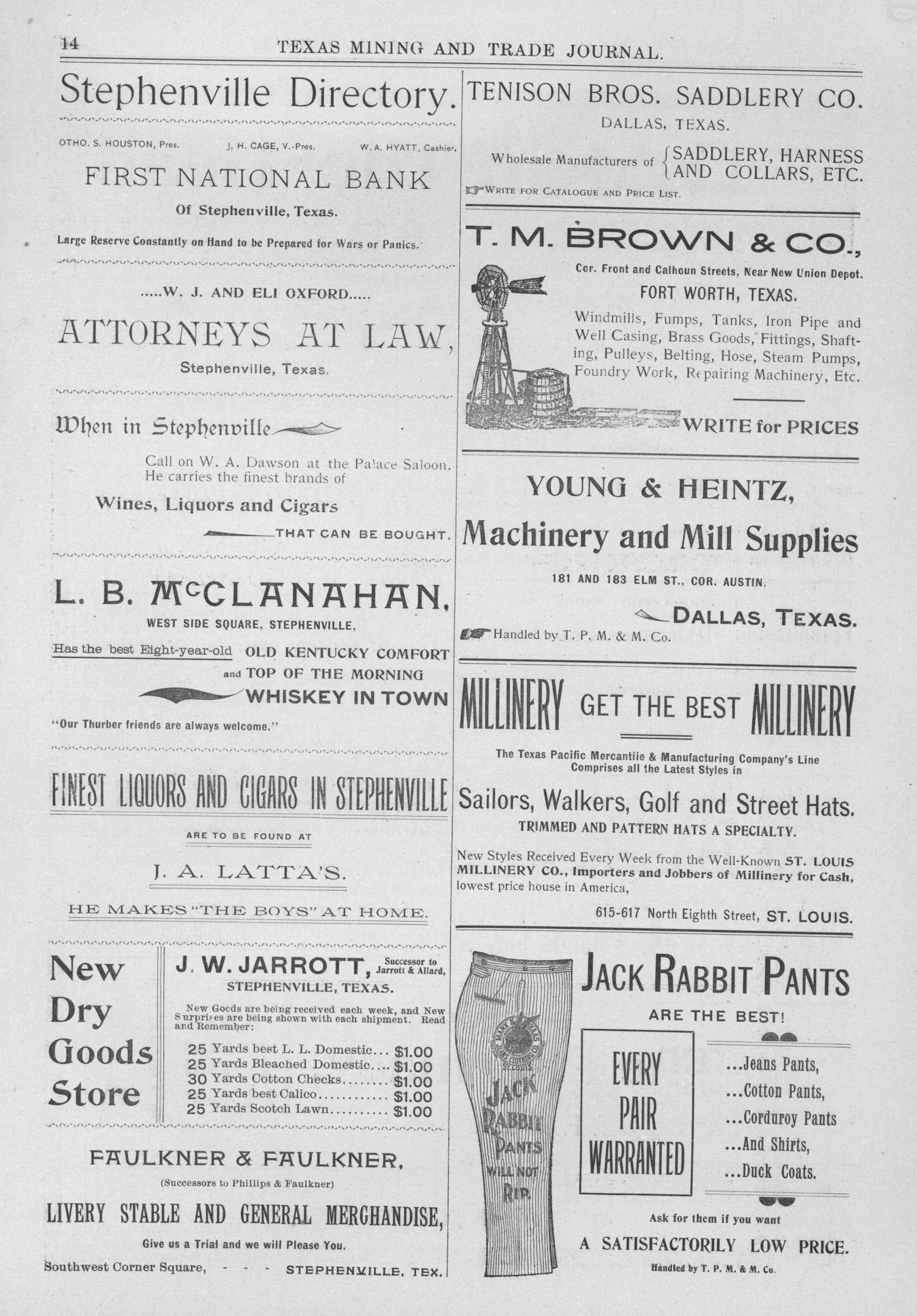 Texas Mining and Trade Journal, Volume 4, Number 30, Saturday, February 10, 1900                                                                                                      14