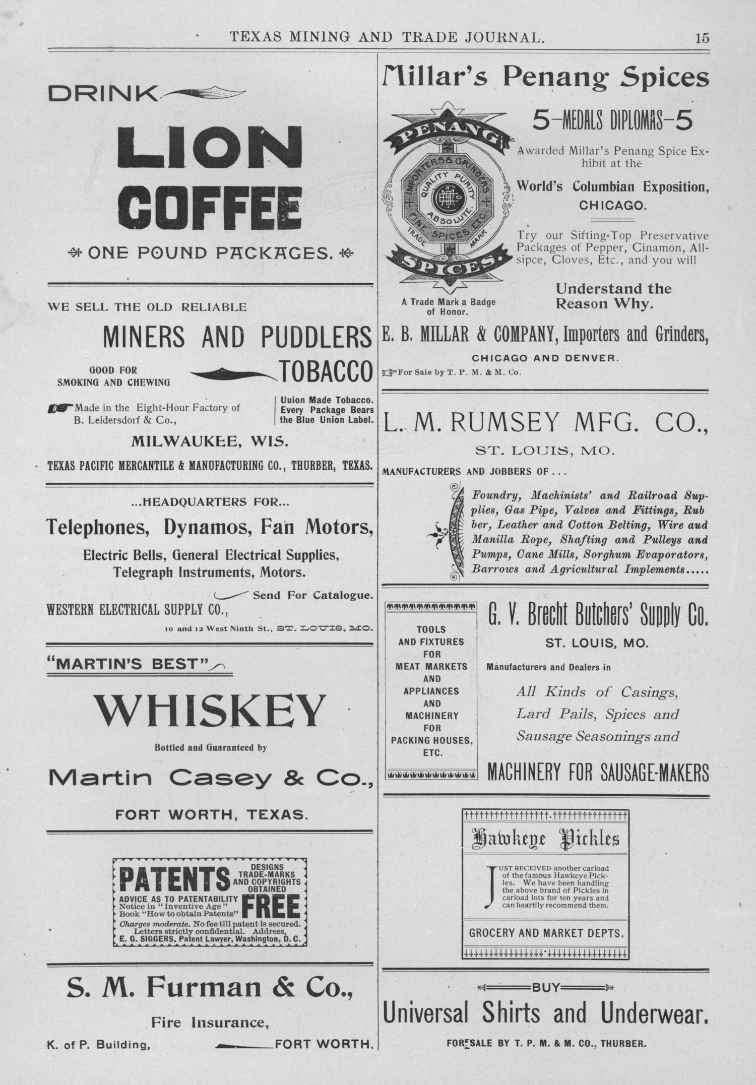 Texas Mining and Trade Journal, Volume 4, Number 30, Saturday, February 10, 1900                                                                                                      15