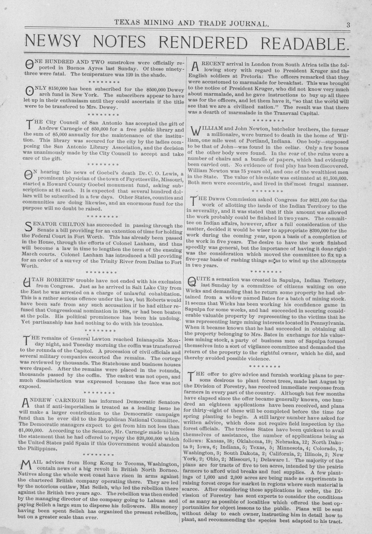 Texas Mining and Trade Journal, Volume 4, Number 30, Saturday, February 10, 1900                                                                                                      3