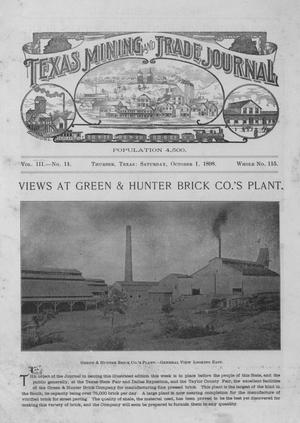 Primary view of object titled 'Texas Mining and Trade Journal, Volume 3, Number 11, Saturday, October 1, 1898'.