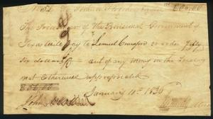 [Republic of Texas Promissory note to Lemuell Crawford]