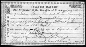 Primary view of object titled '[Republic of Texas Treasury Warrant]'.